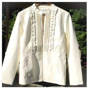 🆕 Ivory SUSAN GRAVER V-Leather Tuxedo Jacket  NWT